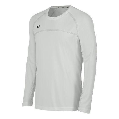 Mens ASICS Conform Long Sleeve Technical Tops - White XL
