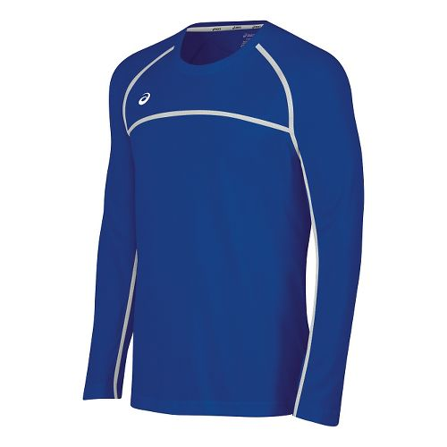 Mens ASICS Conform Long Sleeve Technical Tops - Royal/White M