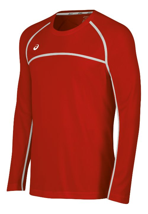 Mens ASICS Conform Long Sleeve Technical Tops - Red/White XXL