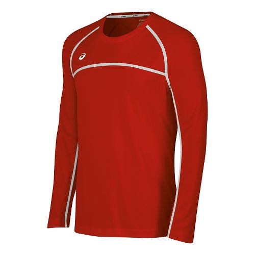 Mens ASICS Conform Long Sleeve Technical Tops - Red/White L