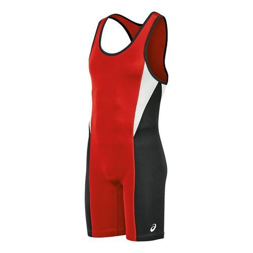 Mens ASICS Legit Singlet Wrestling Suits UniSuits - Red/Black L