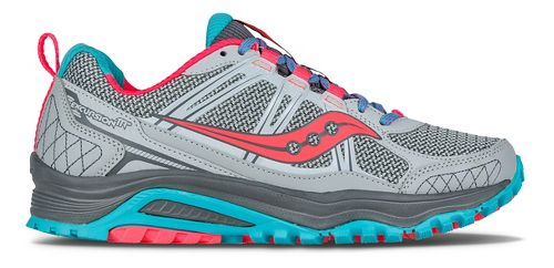 Womens Saucony Excursion TR10 Trail Running Shoe - Grey/Blue/Coral 12