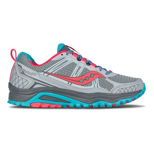Womens Saucony Excursion TR10 Trail Running Shoe - Grey/Blue/Coral 7.5