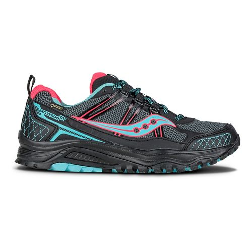Womens Saucony Excursion TR10 GTX Trail Running Shoe - Black/Coral/Blue 7.5