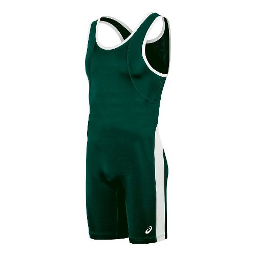 Mens ASICS Restrained Singlet Wrestling Suits UniSuits - Green/White XXXL