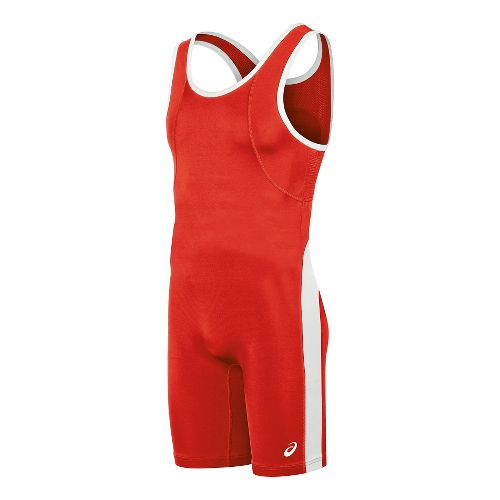 Mens ASICS Restrained Singlet Wrestling Suits UniSuits - Red/White XS