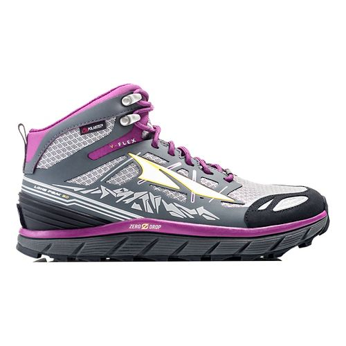 Womens Altra Lone Peak 3 Mid Polartec NeoShell Trail Running Shoe - Grey/Purple 10.5