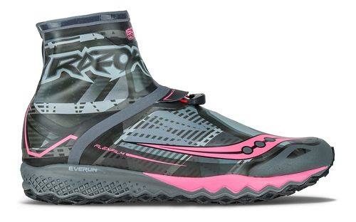 Womens Saucony Razor Ice+ Running Shoe - Black/White/Coral 8.5
