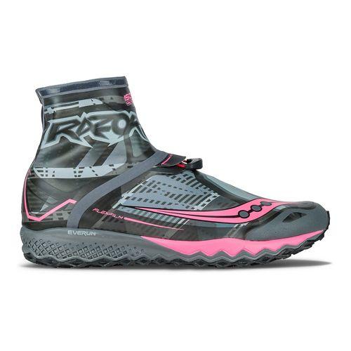 Womens Saucony Razor Ice+ Running Shoe - Black/White/Coral 5