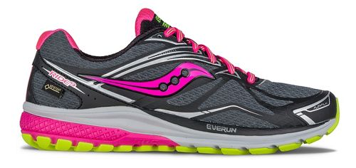 Womens Saucony Ride 9 GTX Running Shoe - Black/Grey/Pink 8