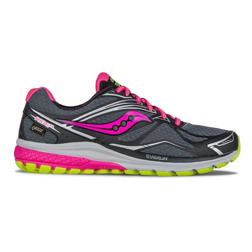 Womens Saucony Ride 9 GTX Running Shoe - Black/Grey/Pink 7