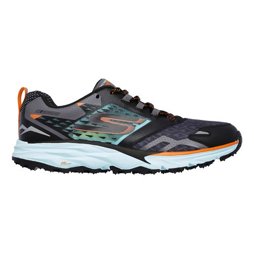 Mens Skechers GO Trail  Running Shoe - Black/Aqua 9.5