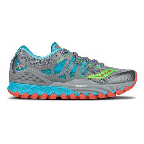 Womens Saucony Xodus ISO Running Shoe - Grey/Blue/Slime 9.5