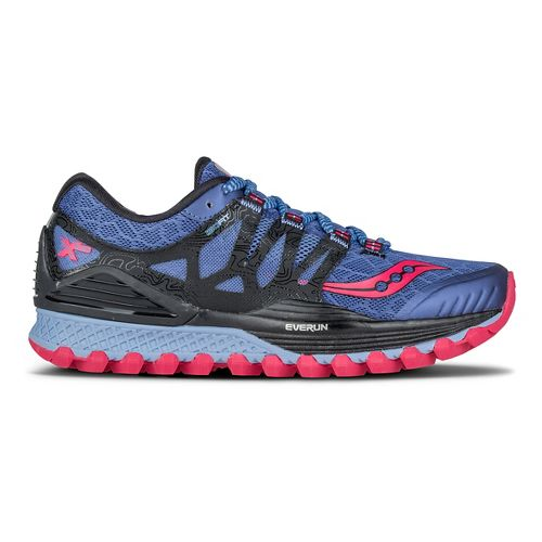 Womens Saucony Xodus ISO Running Shoe - Denim/Black/Pink 8.5