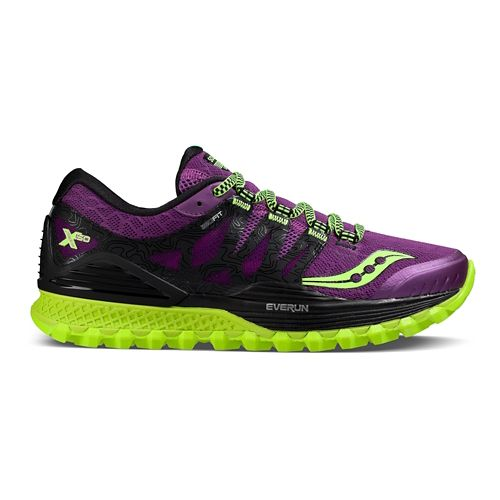 Womens Saucony Xodus ISO Running Shoe - Purple/Pink/Citron 10.5