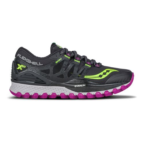 Womens Saucony Xodus ISO Runshield Running Shoe - Black/Citron/Berry 12