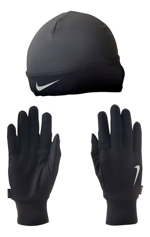 Mens Nike Dri-FIT Running Beanie/Glove Set Headwear - Black/Silver M