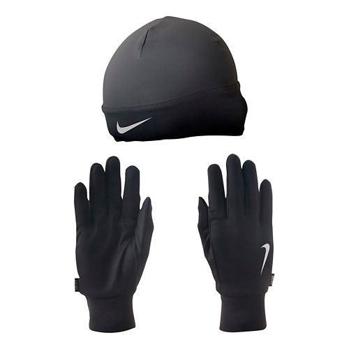 Mens Nike Dri-FIT Running Beanie/Glove Set Headwear - Black/Silver L