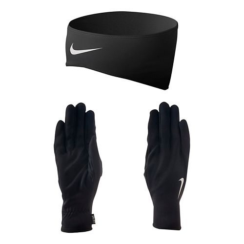 Womens Nike Dri-FIT Running Headband/Glove Set Headwear - Black/Silver S