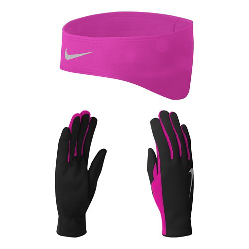 Womens Nike Dri-FIT Running Headband/Glove Set Headwear - Black/Vivid Pink S
