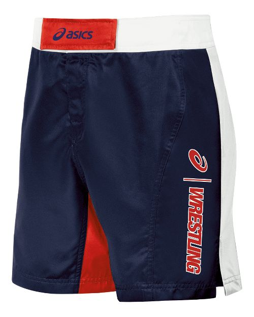 Mens ASICS Feud Wrestling Compression & Fitted Shorts - Navy/Red 38