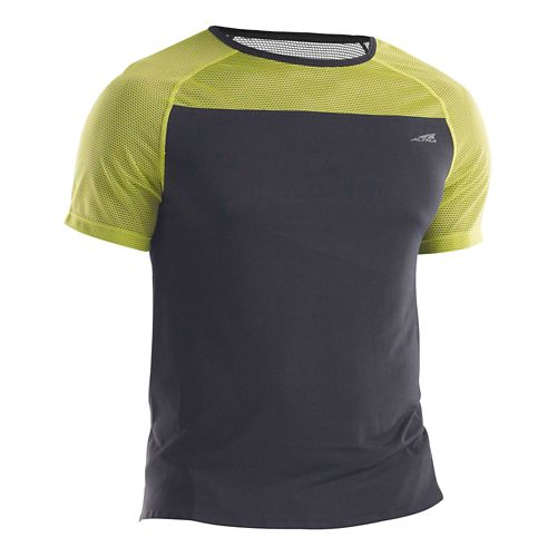 Mens Altra Performance Tee Short Sleeve Technical Tops - Black/Lime M