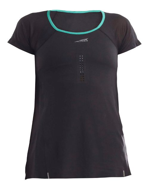 Womens Altra Performance Tee Short Sleeve Technical Tops - Black/Peacock S