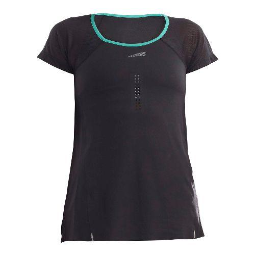 Womens Altra Performance Tee Short Sleeve Technical Tops - Black/Peacock XS
