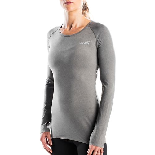 Womens Altra Running Tee Long Sleeve Technical Tops - Dark Grey L