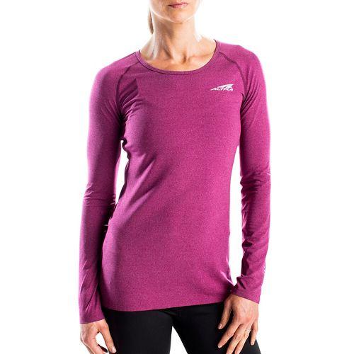 Womens Altra Running Tee Long Sleeve Technical Tops - Magenta M