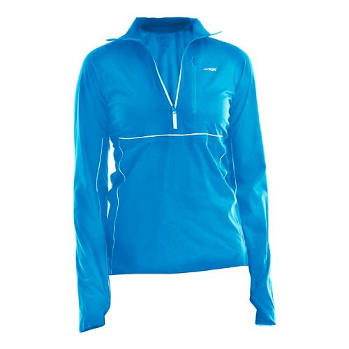 Womens Altra Performance Long Sleeve Half Zip Technical Tops - Blue M