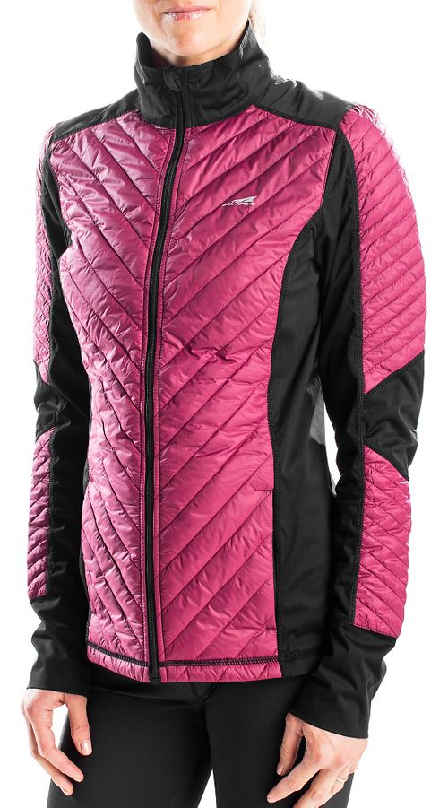 Womens Altra Performance Full Zip Zoned Heat Running Jackets - Raspberry L