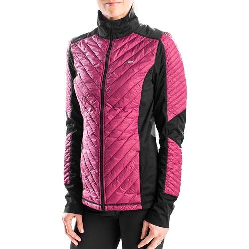 Womens Altra Performance Full Zip Zoned Heat Running Jackets - Raspberry XS