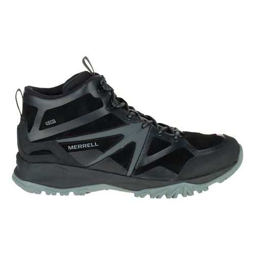 Mens Merrell Capra Bolt Leather Mid Waterproof Hiking Shoe - Black 8