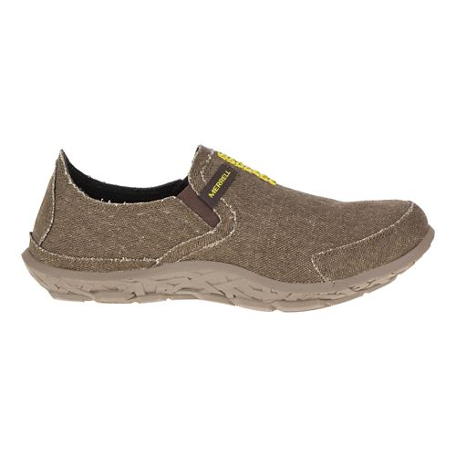 Mens Merrell Slipper Casual Shoe - Dark Brown/Lime 9