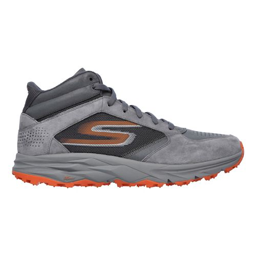 Mens Skechers GO Trail Boot Trail Running Shoe - Charcoal/Orange 11