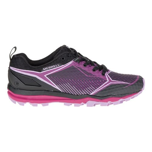 Womens Merrell All Out Crush Shield Trail Running Shoe - Black/Purple 6.5