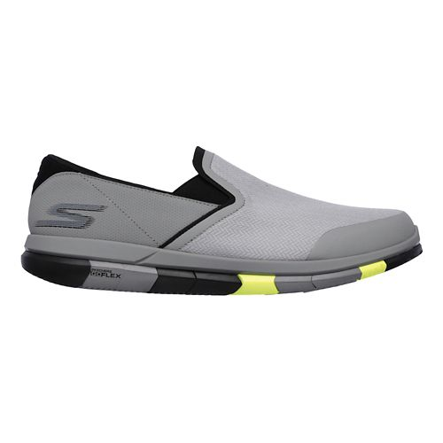 Mens Skechers GO Flex Casual Shoe - Light Grey/Lime 7.5