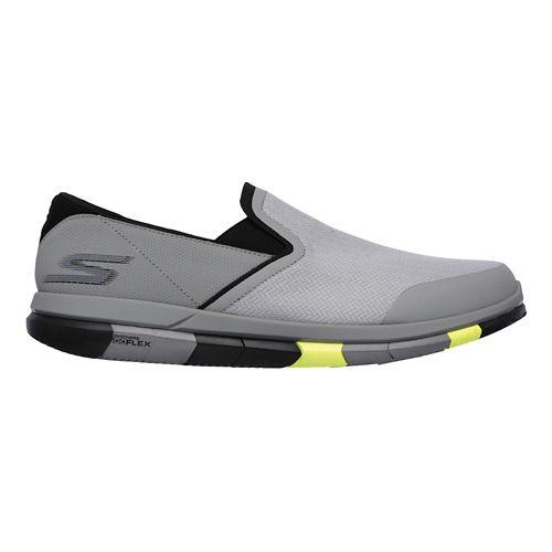 Mens Skechers GO Flex Casual Shoe - Light Grey/Lime 8.5