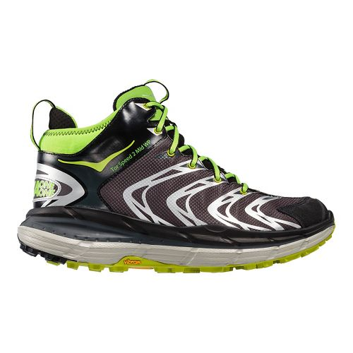 Mens Hoka One One Tor Speed 2 Mid WP Hiking Shoe - Black/Green 10.5