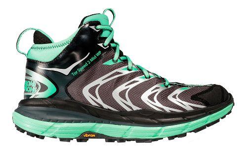 Womens Hoka One One Tor Speed 2 Mid WP Hiking Shoe - Dark Shadow/Green 6.5