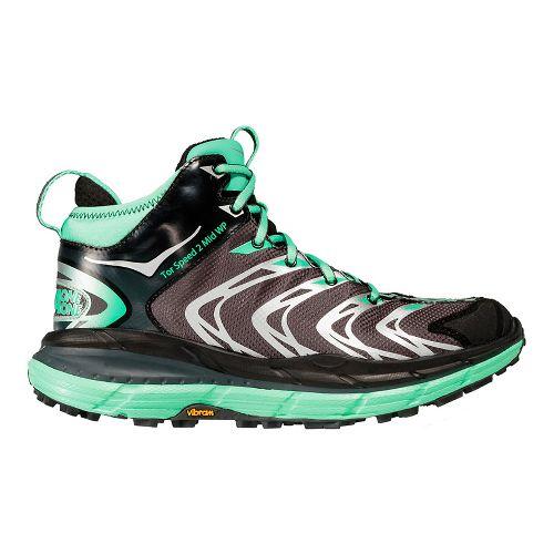 Womens Hoka One OneTor Speed 2 Mid WP Hiking Shoe - Dark Shadow/Green 7.5