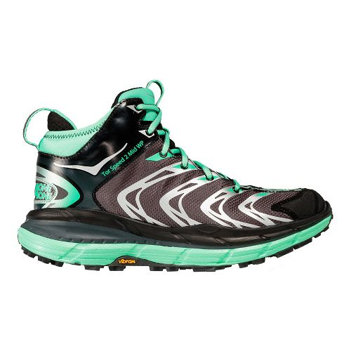 Womens Hoka One One Tor Speed 2 Mid WP Hiking Shoe - Dark Shadow/Green 8.5