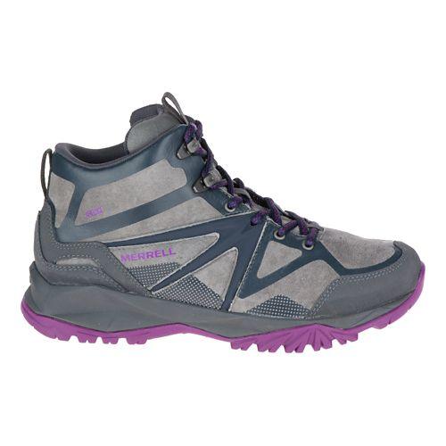 Womens Merrell Capra Bolt Leather Mid Waterproof Hiking Shoe - Grey/Purple 8.5
