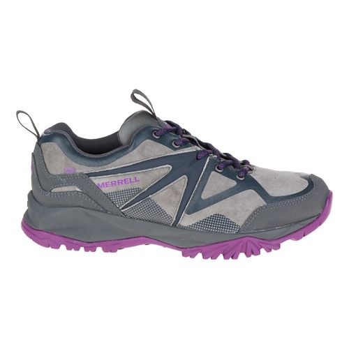 Womens Merrell Capra Bolt Leather Waterproof Hiking Shoe - Grey/Purple 6.5