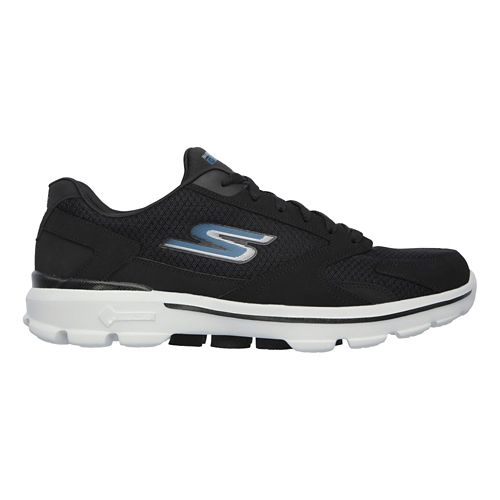 Mens Skechers GO Walk 3 - Revolve Casual Shoe - Black/Blue 10.5