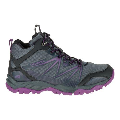 Womens Merrell Capra Rise Mid Waterproof Hiking Shoe - Grey/Purple 10.5