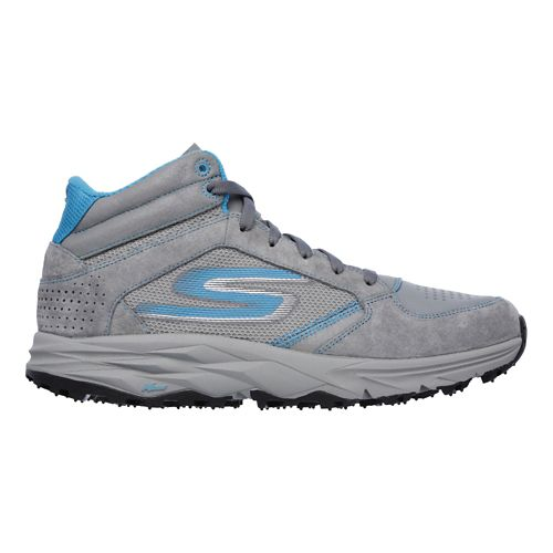 Womens Skechers GO Trail Boot Trail Running Shoe - Charcoal/Turquoise 8.5