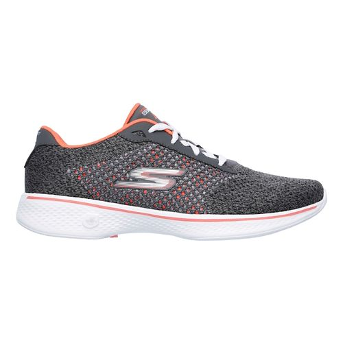 Womens Skechers GO Walk 4 - Exceed Casual Shoe - Charcoal/Coral 8.5