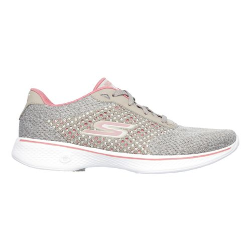 Womens Skechers GO Walk 4 - Exceed Casual Shoe - Taupe/Coral 5.5